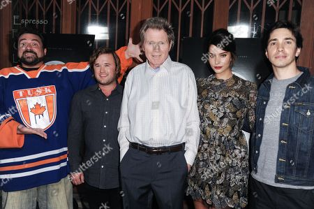 """From left, Kevin Smith, Haley Joel Osment, Michael Parks, Genesis Rodriguez, and Justin Long arrive at the LA Premiere Of """"Tusk"""", in Los Angeles"""