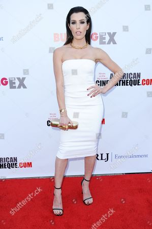 """Actress Monique Zordan arrives at a special screening of """"Burying the Ex"""" held at Grauman's Egyptian Theatre, in Los Angeles"""
