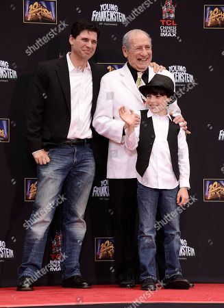 """Comedy legend Mel Brooks, center, his son Max Brooks, left, and his grandson Henry Michael Brooks attend Mel Brooks hand and footprint ceremony at the TCL Chinese Theatre on in Los Angeles. The ceremony coincides with the release of the """"Young Frankenstein"""" 40th Anniversary Blu-ray on Tuesday, Sept. 9"""
