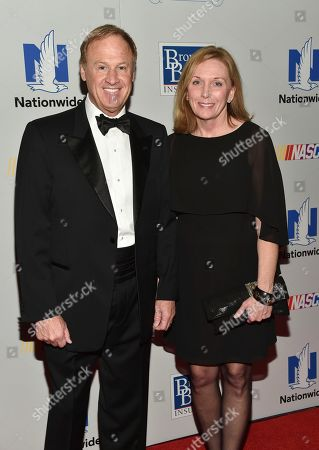 Stock Image of NASCAR driver Rusty Wallace and wife Patti Wallace attend the NASCAR Foundation's inaugural honors gala at the Marriott Marquis, in New York