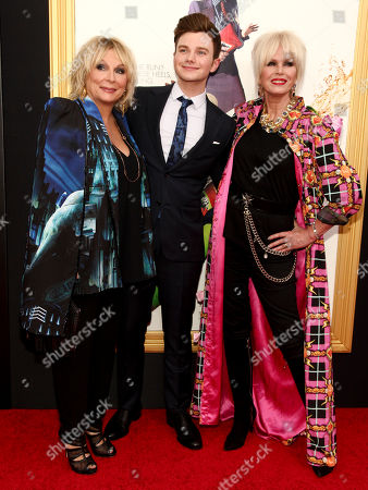 """Jennifer Saunders, from left, Chris Colfer and Joanna Lumley attend the premiere of """"Absolutely Fabulous: The Movie"""" at the SVA Theatre, in New York"""