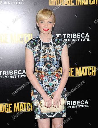 "Stock Picture of Actress Elizabeth Olin attends the world premiere of ""Grudge Match"", benefiting the Tribeca Film Institute, at the Ziegfeld Theatre on in New York"