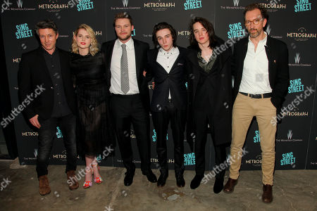 "Aidan Gillen, from left, Lucy Boynton, Jack Reynor, Mark McKenna, Ferdia Walsh-Peelo and John Carney attend the premiere of ""Sing Street"" at Metrograph, in New York"