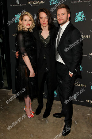 "Lucy Boynton, from left, Ferdia Walsh-Peelo and Jack Reynor attend the premiere of ""Sing Street"" at Metrograph, in New York"
