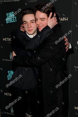 "Mark McKenna, left, and Ferdia Walsh-Peelo, right, attend the premiere of ""Sing Street"" at Metrograph, in New York"