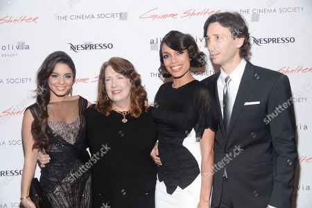 "Actresses Vanessa Hudgens, left, Ann Dowd, Rosario Dawson pose with director Ronald Krauss at a special screening of ""Gimme Shelter"" hosted by The Cinema Society at the Museum of Modern Art on in New York"