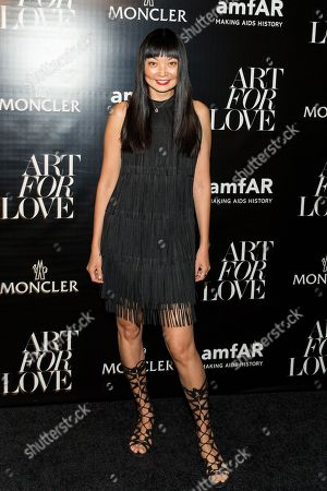 "Irina Pantaeva attends the NYFW Spring/Summer 2016 â?"" Monclear and amfAR celebrate art for LOVE at The New York Public Library, in New York"