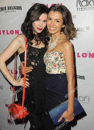 Actresses India de Beaufort and Erica Dasher arrive at the Nylon Magazine: Summer Music Issue Celebration on in Los Angeles, Calif