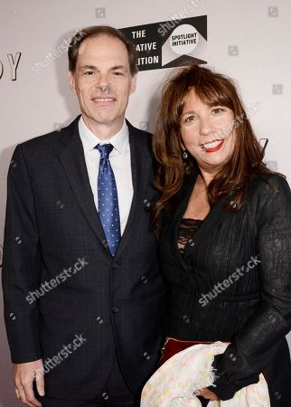 """Tom Ortenberg, CEO of Open Road Films and Creative Coalition CEO Robin Bronk seen at Open Road Films Los Angeles Premiere of """"Little Boy"""" at Regal Cinemas LA Live Stadium 14 on Tuesday, April 14], 2015, in Los Angeles, CA"""