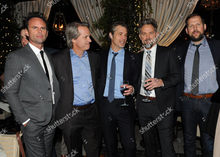 """From left, Walton Goggins, Executive Producer Graham Yost, Timothy Olyphant, David Meunier and President, Original Programming for FX Networks and FX Prods. Nick Grad are seen at the after party for the Red Carpet Premiere Screening of FX's """"Justified,"""" on at Riva Bella in Los Angeles, Calif"""