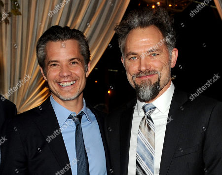 """From left, Timothy Olyphant and David Meunier are seen at the after party for the Red Carpet Premiere Screening of FX's """"Justified,"""" on at Riva Bella in Los Angeles, Calif"""