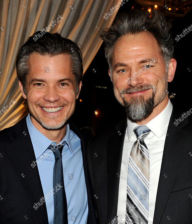 """Stock Picture of From left, Timothy Olyphant and David Meunier are seen at the after party for the Red Carpet Premiere Screening of FX's """"Justified,"""" on at Riva Bella in Los Angeles, Calif"""