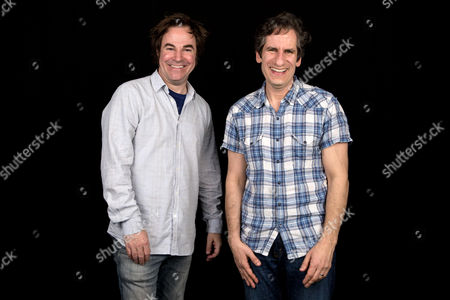 "Roger Bart, left, and Seth Rudetsky from the Broadway production, ""Disaster!,"" pose in New York"
