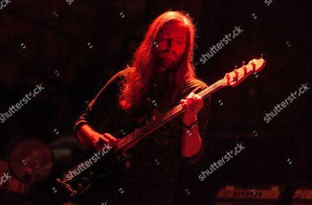 Stock Photo of Mark Stoermer of The Killers performs as part of the special new line-up of the Smashing Pumpkins at Thalia Hall on in Chicago