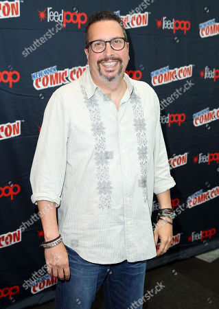 "Stock Image of John Shiban, from the STARZ original series ""Da Vinci's Demons"", poses for a photo at New York Comic Con on in New York"
