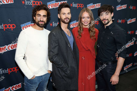 "From left, Gregg Chillin, Tom Riley, Laura Haddock, and Blake Ritson, from the STARZ original series ""Da Vinci's Demons"", pose for a photo at New York Comic Con on in New York"