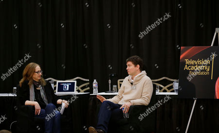 """Vice President Archive of American Television Karen Herman hosts a conversation with Emmy  Award-winning writer/producer Mike Schur during BEA's """"Coffee With...Mike Schur,"""" presented by the Television Academy Foundation on in Las Vegas"""