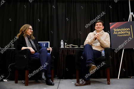 """Vice President Archive of American Television Karen Herman hosts a conversation with Emmy® Award-winning writer/producer Mike Schur during BEA's """"Coffee With...Mike Schur,"""" presented by the Television Academy Foundation on in Las Vegas"""