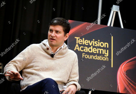 """Emmy® Award-winning writer/producer Mike Schur speaks during at BEA's """"Coffee With...Mike Schur,"""" presented by the Television Academy Foundation on in Las Vegas"""