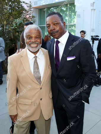 Ted Lange, left, and Carl Weathers attend the Television Academyâ?™s 70th Anniversary Gala and Opening Celebration for its new Saban Media Center, in the NoHo Arts District in Los Angeles