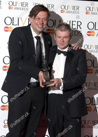 Simon Stephens and Mark Haddon winners of Mastercard Best New Play Award for The Curious Incident of the Dog in the Night-time seen in the press room at the Olivier Awards 2013 at the Royal opera House in London on Sunday, April 28th, 2013