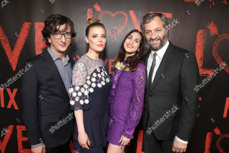 Stock Photo of Paul Rust, Gillian Jacobs and Creators/Writers/Executive Producers Lesley Arfin and Judd Apatow seen at the Los Angeles premiere of the Netflix original series 'Love' at The Vista Theatre, in Los Angeles, CA