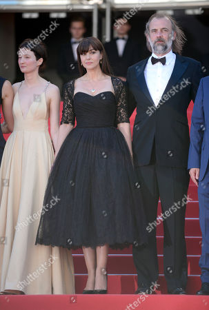 From left, Alba Rohrwacher, Monica Belucci and Sam Louwyck arrive for the screening of The Wonders (Le Meraviglie) at the 67th international film festival, Cannes, southern France