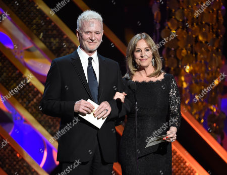 "Anthony Geary, left, and Genie Francis present the award for outstanding drama series at the 42nd annual Daytime Emmy Awards in Burbank, Calif. After 37 years, Geary finishes his role as Luke Spencer on ABC's ""General Hospital,"" on"