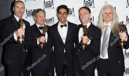 From left, Erik-Jan De Boer, Ang Lee, Suraj Sharma, Mychael Danna, and Claudio Miranda arrive at the Twentieth Century Fox & Fox Searchlight Pictures Oscar Party at the LURE on in Los Angeles
