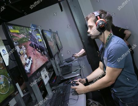 Nathan Kress playing Tom Clancy's Ghost Recon Wildlands at Ubisoft E3 2016 - Day 3 at the Los Angeles Convention Center, in Los Angeles