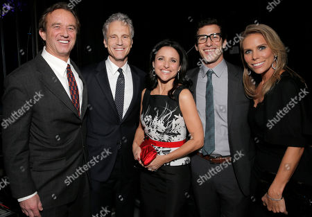 From left, Robert F. Kennedy Jr., co-founder of MTV and VH1 Cable Networks John Sykes, Julia Louis-Dreyfus, Andy Samberg and Cheryl Hines attend unite4:good and Variety's unite4:humanity at Sony Pictures Studios, in Culver City, Calif
