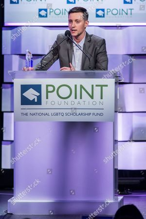 Honoree Rhys Ernst on stage during the Voices on Point Gala at the Hyatt Regency Century City on in Los Angeles