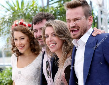 From left, actors Ana Pauls, Alexander Brendemuhi, director Lucia Puenzo and actor Guillermo Pfening pose for photographers during a photo call for the film Wacolda at the 66th international film festival, in Cannes, southern France