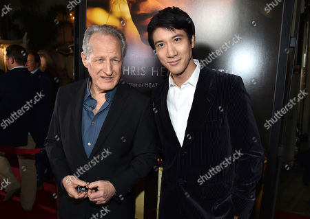 "Michael Mann, left, and Leehom Wang arrive at the world premiere of ""Blackhat"" at the TCL Chinese Theatre, in Los Angeles"