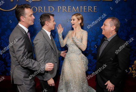 """President of Walt Disney Studios Motion Picture Production Sean Bailey, Walt Disney Studios President of Marketing Ricky Strauss, actress Lily James and Walt Disney Studios President Alan Bergman attend the World Premiere Of """"Cinderella"""", in Los Angeles"""