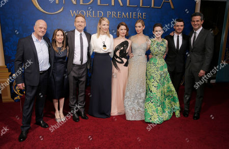 "Producers David Barron, Allison Shearmur, Director Kenneth Branagh, Cate Blanchett, Holliday Grainger, Lily James, Sophie McShera, Richard Madden and producer Simon Kinberg attend the World Premiere Of ""Cinderella"", in Los Angeles"