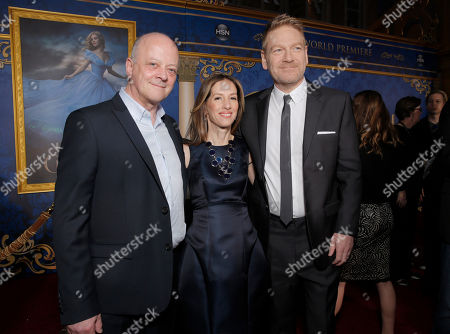 """Producer David Barron, Producer Allison Shearmur, and Director Kenneth Branagh attend the World Premiere Of """"Cinderella"""", in Los Angeles"""