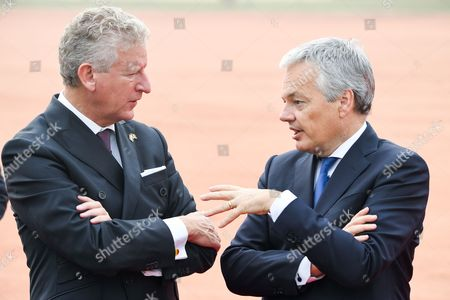 Didier Reynders, Pieter De Crem   at Ceremonial Welcome at the forecourt of Rashtrapati Bhavan (Presidential Palace)