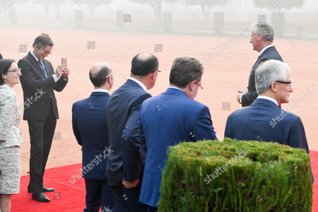 Willy Borsus, Rudi Vervoort, Geert Bourgeois, Rudy Demotte, Pieter De Crem   at Ceremonial Welcome at the forecourt of Rashtrapati Bhavan (Presidential Palace)