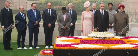 Queen Mathilde, King Philippe, Didier Reynders, Rudi vervoert, Willy Borsus, Pieter De Crem, Geert Bourgeois, Rudy Demotte   at a wreath laying ceremony & 1 minute of silence at Raj Ghat followed by signing of the guestbook