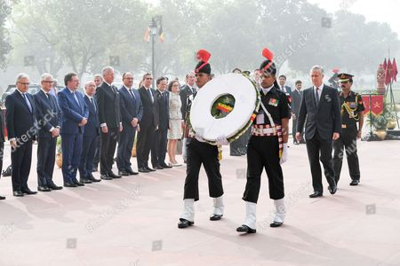 King Philippe / Didier Reynders / Rudi Vervoorty / Rudy Demotte / Geert Bourgeois / Pieter De Crem / Willy Borsus   at a wreath laying ceremony and Last Post at the India Gate Memorial