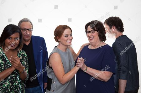 """Starting on the left, actors Mindy Kaling, Lewis Black, Amy Poehler, Bill Hader and Phyllis Smith pose for a portrait in promotion the new animated feature with Disney, """"Inside Out"""" in Beverly Hills, Calif. on"""