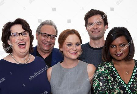 """Starting on the left, actors Phyllis Smith, Lewis Black, Amy Poehler, Bill Hader and Mindy Kaling pose for a portrait in promotion the new animated feature with Disney, """"Inside Out"""" in Beverly Hills, Calif. on"""