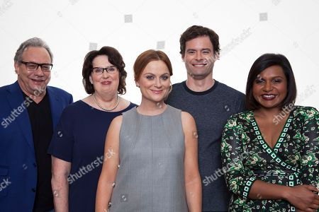 """Actors Lewis Black, from left, Phyllis Smith, Amy Poehler, Bill Hader and Mindy Kahling pose for a portrait in promotion of the new Disney-Pixar animated feature film, """"Inside Out,"""" in Beverly Hills, Calif. The movie releases in U.S. theaters on June 19, 2015. Photo by Rebecca Cabage/Invision/AP"""