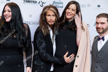 Stock Image of Mia Tyler, left, Steven Tyler, Liv Tyler and Taj Tallarico are seen at Steven Tylerâ?¦OUT ON A LIMB at Lincoln Center on in New York