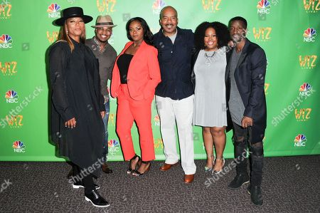 "Stock Photo of Queen Latifah, from left, Ne-Yo, Shanice Williams, David Alan Grier, Amber Riley and Elijah Kelley attend ""The Wiz Live!"" Photo Op held at the Directors Guild of America, in Los Angeles"