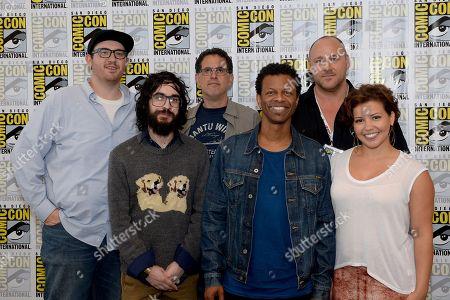 "From left, Peter Atencio, creator Jason Ruiz, creator David A. Goodman, Phil Lamarr, Will Sasso, and Justina Machado attend the FOX ""Murder Police"" press room on Day 2 of Comic-Con International on in San Diego, Calif"