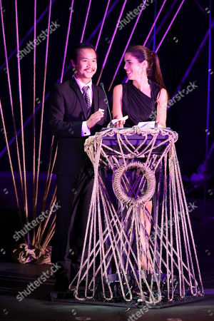 From left, Trieu Tran and Ana Ortiz present during the 24th Annual LA Stage Alliance Ovation Awards held at the San Gabriel Mission Playhouse, in San Gabriel, Calif