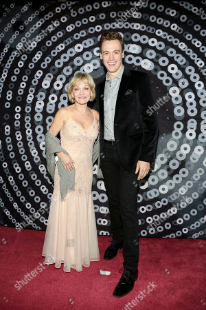 From left, actors Cathy Rigby and Erich Bergen pose during the 24th Annual LA Stage Alliance Ovation Awards held at the San Gabriel Mission Playhouse, in San Gabriel, Calif