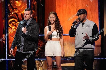 Chris Distefano, Melanie Iglesias and Sway speak onstage at the 2014 MTV Upfront, on at the Beacon Theater in New York